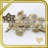 Handmade large flower bridal beaded crystal applique for wedding dress FHA-071                                                                                                         Supplier's Choice