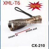 aluminum zoom cree led xml t6 mini flashlight