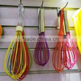 Wholesale hand power 12'' egg whisk anti-slip Noveltya silicone coated coloful manual bulk egg whisks