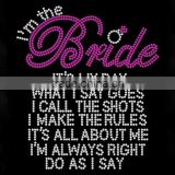 Custom bride Rhinestone Iron on Transfer Hot fix Motif crystal