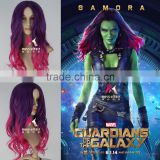 Miss U Hair Wholesale Gamora Ombre Wig Women Synthetic Long Wavy Gradient Purple & Pink Movie Cosplay Wig