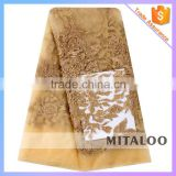 Mitaloo Gold Tulle Lace High Quality Beaded French Lace Net Fabric with Pearls MFL1126