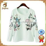 Embroidery and printed women pullover/100% cotton high quality design pullover for wholesale