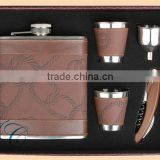 Leather Hip Flask &wine cup&opener gift sets with wine hip flask for men's gift