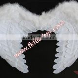 White Fabric Angel Wings Turkey Marabou Feather Christmas Ornament