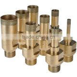 "Diamond drill bit with 1/2"" GAS threaded iron bronze brazed body for glass drilling"