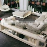 french style sofa Modern Design Leather Mix Fabric Corner Sofa Set with Tea Table Ottoman European Sofa Set 9006-37