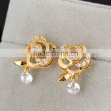 Cheap Fashion Imitation Jewelry Rose Flower With Round Crystal Drop Rhinestone Gold Plated Stud Earrings Anniversary Gift