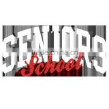 Senior School with High Quality Flock and Hot Fix Glitter Designs