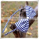 Handmade blue and white stripe bow headband for school young girls