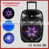 15 inch two way rechargeable portable active speakers with colorful lights speaker(PT15WL)