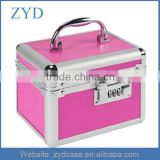 Pretty Pink Fashionable Custom Small Aluminum + Leather Makeup Box Portable Vanity Case With Combination Lock ZYD-HZMmc030