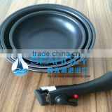 Germany 3pcs Aluminum non-stick stamped frying pan set with DETACHABLE HANDLE/ induction bottom/as seen on TV