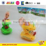 2015 cheap item baby toy wind up toys small plastic mini baby walker with small doll