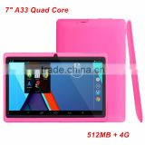 7 inch Q88 Tablets Quad Core AllWinner A33 Android 4.4 512MB RAM 4GB ROM WIFI Tablet PCs