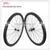 U shape custom bicycle wheels 38mm clincher rims, 4 degree basalt braking road bike wheels built with Bitex hub Farsports