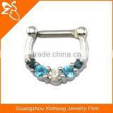 Tribal Septum Ring Nose piercing ring septum piercing septum ring with clear and blue zircon for woman