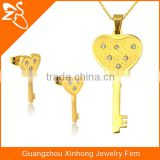 New Indian Gold Plated Fashion Jewelry Set Stainless Steel Key Shaped Necklace And Earring