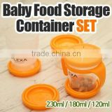 Baby Food Storage Container SET Baby food storage containers / 120ml, 180ml, 230ml / Microwavealbe