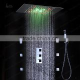European shower jet system 360*500mm wall panel embeded ceiling rainfall shower head set with body jet