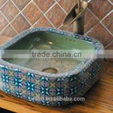 Handpainted ceramic art basin colorful countertop round sink porcelain flower edge bowl vanity top GD-F26                                                                         Quality Choice