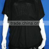 Black batwing short sleeve ladies polyester t shirt