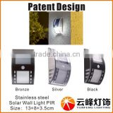 Patent design 3LED stainless steel solar pillar light solar wall light PIR motion sensor