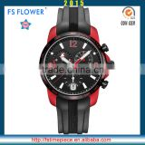 FS FLOWER - Chronograph Silicone Band Male Watch Stainless Steel Case Back 20 ATM Bar Water Resistant