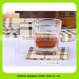 16019 Promotional gift high end lattice design waterproof genuine leather tea coffee coaster set