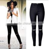 Alibaba China 2016 Summer Fashion Women Black High Waist Leggings Ladies Knee Holes Pencil Skinny Ripped Jeans Wholesale Price
