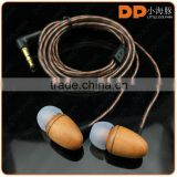 OEM brand logo fashion style handmade wood shell earphone high sound quality in ear wooden earbuds