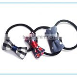 New design fashion rubber band girls and children ribbon hair elastic with fabric bow with elastic band