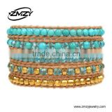 Wholesale European Style Leather Wrap Bracelets Pink Pearl Jewelry With Crystal Beads Bracelet
