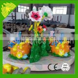 Funny! Flower and bee cup amusement ride for kids