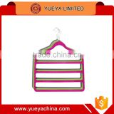 Wholesale products china 4 pack non slip 4 step hanger velvet flocked clothes trouser hanging hangers slim