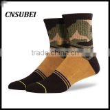 Ribbed top calf 360 digital print fabric unisex dress fashion army camouflage sock for men