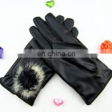 Cute Fashion warm leather gloves with velvet lint for driving and touch gloves for ladies and women