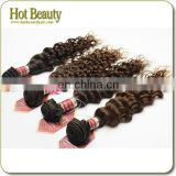 26'' 100G/Piece Deep Wave Grade Aaaa Peruvian Remy Virgin Black Hair Weaving/Extension Double Weft