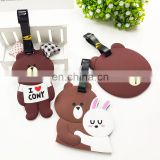2017 new design customized bear shape soft rubber pvc luggage tag