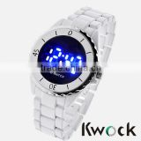 Men LED Waterproof Circular Silicone Sport Wrist Watch White