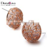 Latest Cute Girl Jewelry Filigree Pattern Pave Setting Cubic Zirconia Big Round Stud Earrings