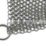 Cast Iron Skillet Cleaner XL 8x6in Stainless Steel Chainmail Scrubber