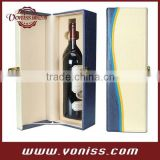 White And Blue Wine Single Bottle Leather Box Holder Wine Gift Box Carrier