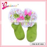 Beautiful rainbow ribbon decoration green soft baby fleece socks for girls (WT-0022)