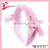 Factory direct wholesale handmade no fade fabric ribbon bow rose flower hairband for kids (TK1-0984)