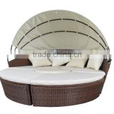 Top sale KD steel round rattan daybed with canopy