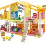 High quality diy wooden play doll house,solid wood dollhouse,wooden doll house furniture