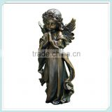 Resin bronze praying little winged angel girl garden figurine statue