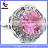 Big pink crystal design high quality stainless steel factory direct price cuff link (AC001)