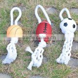 2015 New!Hot Selling Football & Basketball&Rugby With Dog Rope Toy Pet Product